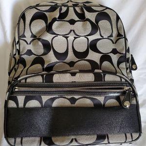 Coach Signature C Gray and Black Backpack {KJ}